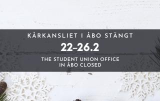 Banner Kårkansliet i Åbo stängt v. 8