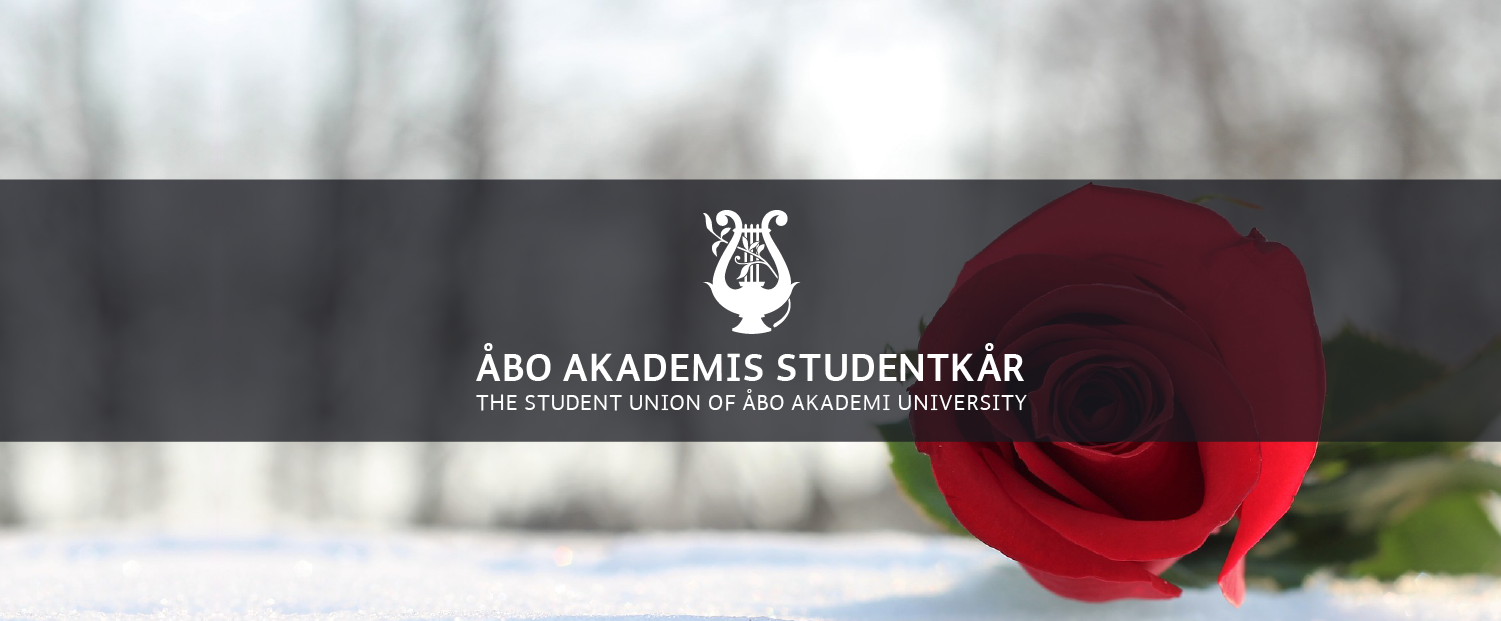 En ros som ligger på snön. ÅAS logo./ A rose on snow. The Student Union's logo.