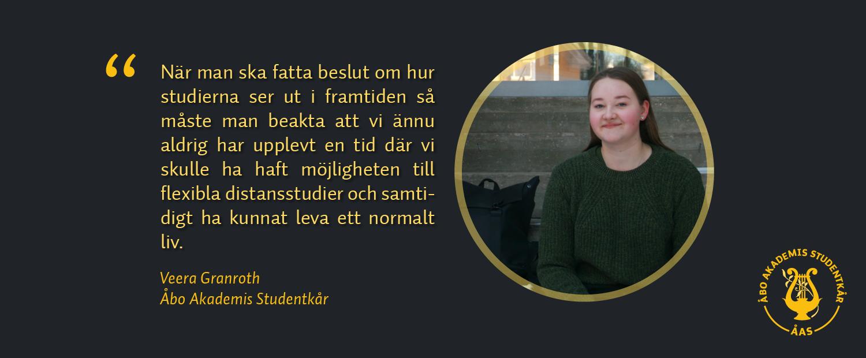 Bild på Veera Granroth samt en citat ur hennes blogginlägg